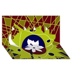 Big bang Twin Hearts 3D Greeting Card (8x4)