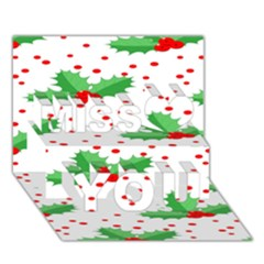Christmas Decoration Pattern Miss You 3D Greeting Card (7x5)