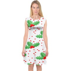 Christmas Decoration Pattern Capsleeve Midi Dress