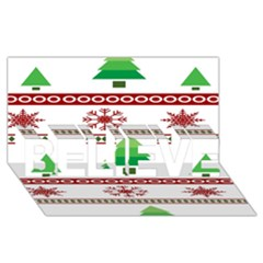 Christmas Trees And Snowflakes BELIEVE 3D Greeting Card (8x4)