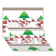 Christmas Trees And Snowflakes Miss You 3D Greeting Card (7x5)