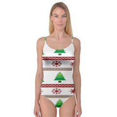 Christmas Trees And Snowflakes Camisole Leotard