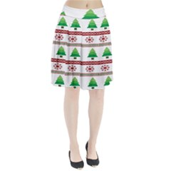 Christmas Trees And Snowflakes Pleated Skirt