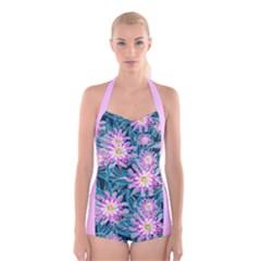 Whimsical Garden Boyleg Halter Swimsuit