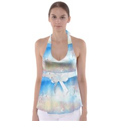 Abstract blue and white art print Babydoll Tankini Top