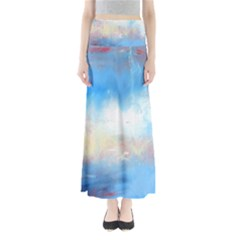 Abstract blue and white art print Maxi Skirts