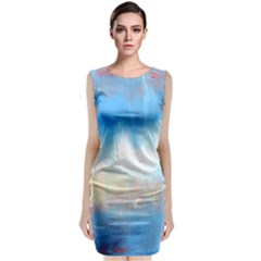 Abstract Blue And White Art Print Classic Sleeveless Midi Dress