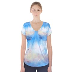 Abstract blue and white art print Short Sleeve Front Detail Top
