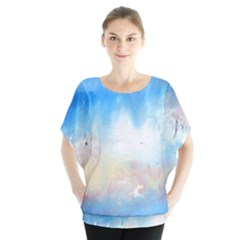 Abstract blue and white art print Blouse