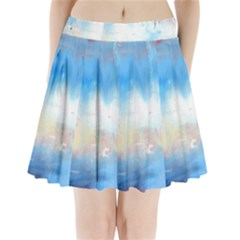 Abstract blue and white art print Pleated Mini Skirt