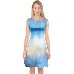 Abstract blue and white art print Capsleeve Midi Dress