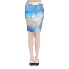 Abstract Blue And White Art Print Midi Wrap Pencil Skirt