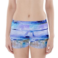 Abstract Purple Art Prints Boyleg Bikini Wrap Bottoms