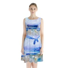 abstract purple art prints Sleeveless Chiffon Waist Tie Dress