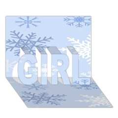 Snowflakes Pattern GIRL 3D Greeting Card (7x5)