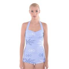Snowflakes Pattern Boyleg Halter Swimsuit