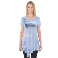 Snowflakes Pattern Short Sleeve Tunic