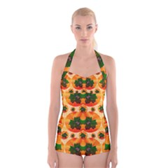 Want To Put Them Back On The Tree Boyleg Halter Swimsuit