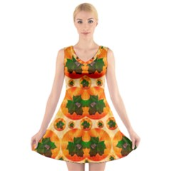 Want To Put Them Back On The Tree V Neck Sleeveless Skater Dress