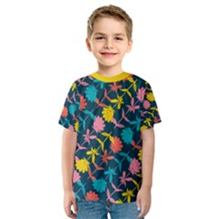 Colorful Floral Pattern Kid s Sport Mesh Tee