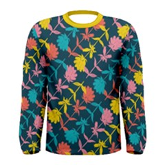 Colorful Floral Pattern Men s Long Sleeve Tee