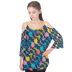Colorful Floral Pattern Flutter Sleeve Tee
