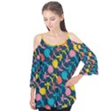 Colorful Floral Pattern Flutter Sleeve Tee  View1