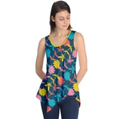 Colorful Floral Pattern Sleeveless Tunic