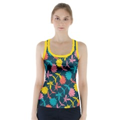 Colorful Floral Pattern Racer Back Sports Top