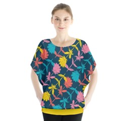 Colorful Floral Pattern Batwing Chiffon Blouse