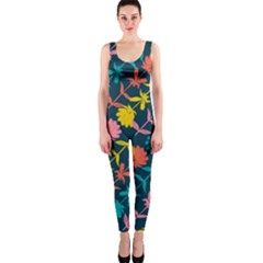 Colorful Floral Pattern Onepiece Catsuit