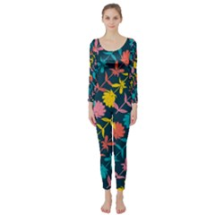 Colorful Floral Pattern Long Sleeve Catsuit