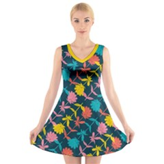 Colorful Floral Pattern V Neck Sleeveless Dress
