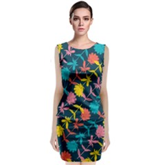 Colorful Floral Pattern Classic Sleeveless Midi Dress