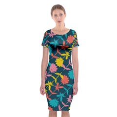 Colorful Floral Pattern Classic Short Sleeve Midi Dress