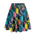 Colorful Floral Pattern High Waist Skirt View1