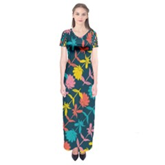Colorful Floral Pattern Short Sleeve Maxi Dress