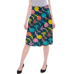 Colorful Floral Pattern Midi Beach Skirt