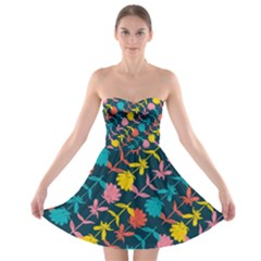 Colorful Floral Pattern Strapless Bra Top Dress