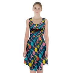 Colorful Floral Pattern Racerback Midi Dress