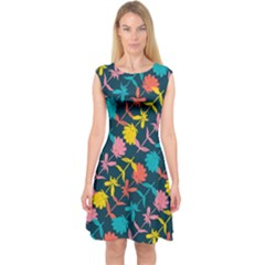 Colorful Floral Pattern Capsleeve Midi Dress