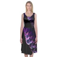 Pink And Purple Bubbles Midi Sleeveless Dress