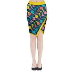 Colorful Floral Pattern Midi Wrap Pencil Skirt