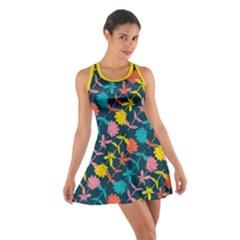 Colorful Floral Pattern Cotton Racerback Dress