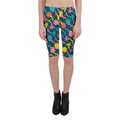 Colorful Floral Pattern Cropped Leggings