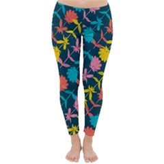 Colorful Floral Pattern Winter Leggings