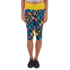 Colorful Floral Pattern Capri Yoga Leggings