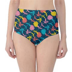 Colorful Floral Pattern High-Waist Bikini Bottoms
