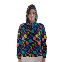 Colorful Floral Pattern Hooded Wind Breaker (Women)