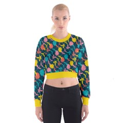 Colorful Floral Pattern Women s Cropped Sweatshirt